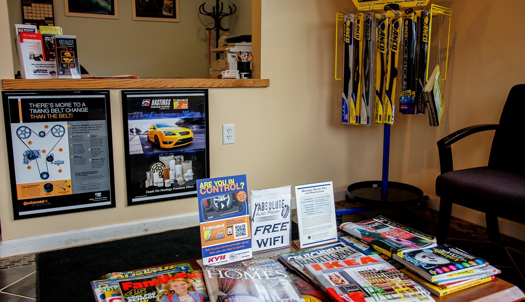 Clean waiting room, modern auto repair shop, free wifi, free coffee, k-cup