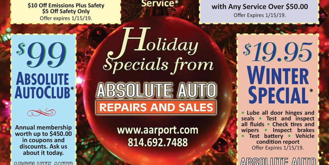 Christmas Special, auto repair, inspection, auto club, winter special. free tire rotation. discount auto repair, auto repair coupon.