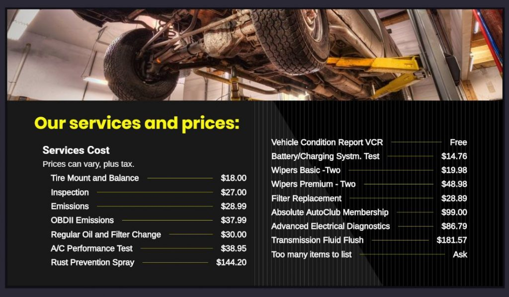 Services and Pricing basic list of service