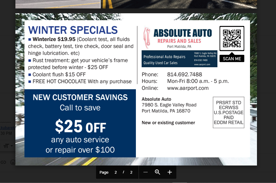 Winter special 2020 back side, winterize $19.95, coolant test, battery check, fluid check, fluids check, door seal spray, coolant flush, $25 off,