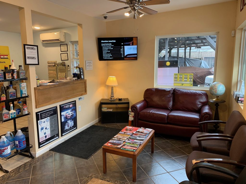 Waiting area, clean comfortable, free wifi, free coffee professional auto repair shop. inspection station, wipers,